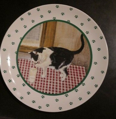 "Vintage Lowell Herrero 8"" Luncheon Plate Black White Cat Milk 1984  Vandor Japan"