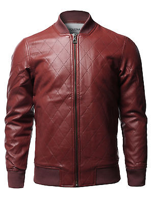 FashionOutfit Men's Casual Faux Leather Long Sleeve Zipper Closure Bomber Jacket