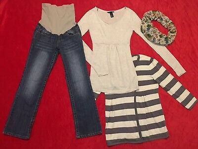 Pre-owned Maternity 4-piece Lot XS Sweaters PETITE SMALL MOTHERHOOD Jeans Scarf