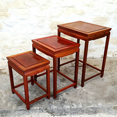 Qing Style Chinese Rosewood Nest of 3 Tables (Three Side Tables Antique)
