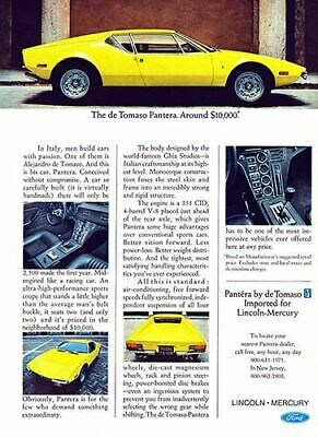 1972 de Tomaso Pantera #101667 Vintage Car Poster Print Art Sign Wall Garage
