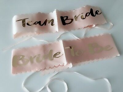 AU Bride to Be Team Hen's Night Party Wedding Rose Gold letter Sash Sashes Belt