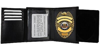 Mens Badge ID Holder for Police Cop Sheriff Security Fire Leather Wallet