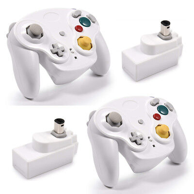 2PCS White Wireless Gamecube Controllers With Adapter for Classic Wii GC NGC US