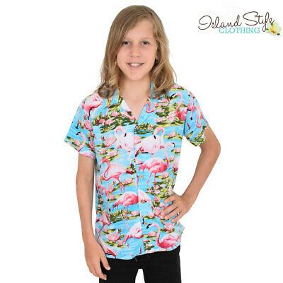 Boys Hawaiian Shirt Turquoise Flamingos Kids Party Cruise Clothing