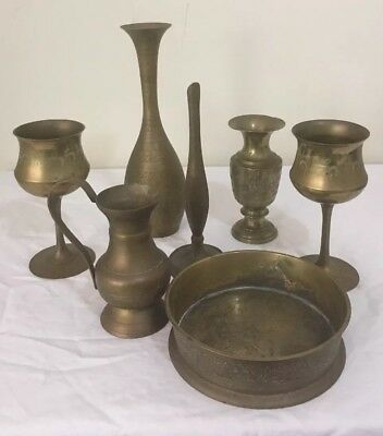 7 Brass Items Etched Vases Goblets Jug & Bowl Vintage Very Good Condition
