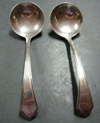 2 Antique English Mappin & Webb Curved Handle Gravy Spoons So Nice Silver Plate