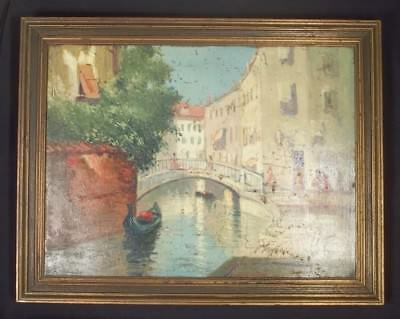 PAIR OF EARLY 20th CENTURY OIL ON BOARD ITALIAN VENETIAN CANAL SCENES SIGNED