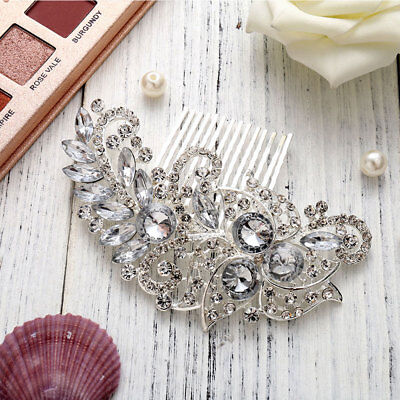Bridal Comb Wedding Hair Comb Diamante Crystal Pearl Clip Slide Hairpiece Prom