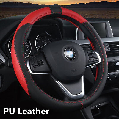38cm PU Leather Car Steering Wheel Nonslip Protector Cover Black+Red Car-Styling