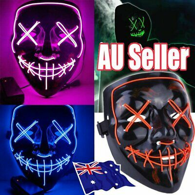 Halloween LED Light Mask Scary Smiling face Rave Purge Festival Cosplay Party NW