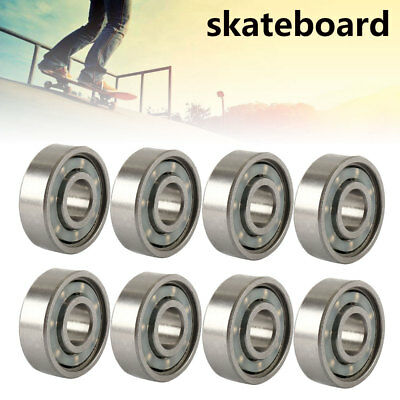 8 PCS ABEC 11 Scooter Bearings New Black Shields Silver 608RS AU