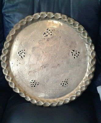 """Antique 20.75"""" Solid Heavy Brass Tray Coffee Table Top  Scalloped Edges Large"""