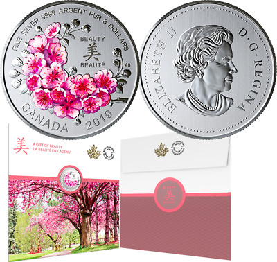 2019 Brilliant Cherry Blossoms Beauty Bloom $8 1/4OZ PureSilver 27mm Coin Canada