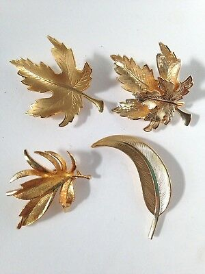 VINTAGE BROOCHES PINS Gold Tone Leaf Collection of Lot of Four (4) ~  1960-70's