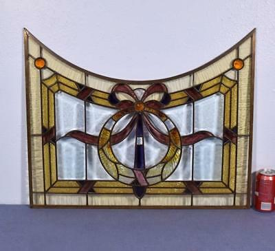 *Vintage French Stained/Leaded Glass Panel with Brass Frame and Beveled Glass