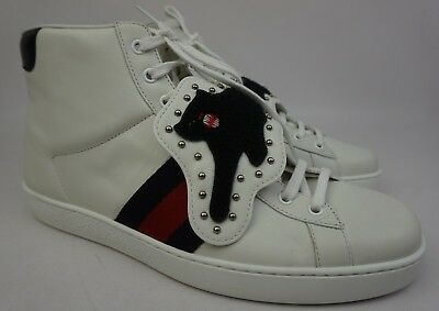 1ae38bb1624 Gucci Ace Removable Patch Sneaker Panther High Tops White Shoes Size 9 G    10 US