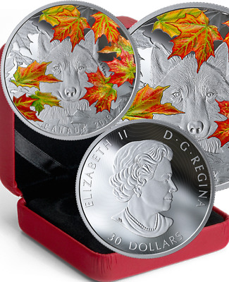 2019 Wily Wolf Iconic Fall Maple Leaf $30 2OZ Pure Silver Proof 50mm Coin Canada
