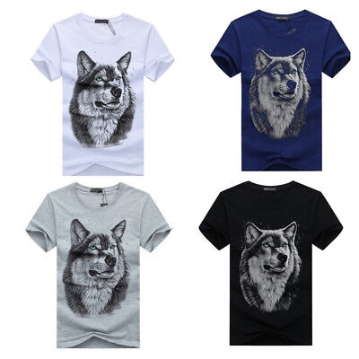 AU Stock Men's O Neck Wolf Head Summer Tees Casual Tops Shirts Blouse T-shirt