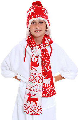 Kids Boys Girls Toddler Knitted Beanie Hat Long Scarf Set Christmas Gifts