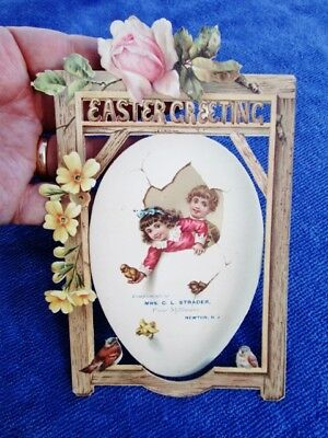 c.1890 Antique Victorian Die Cut Easter Card: STRADER FINE MILLINERY, NEWTON, NJ