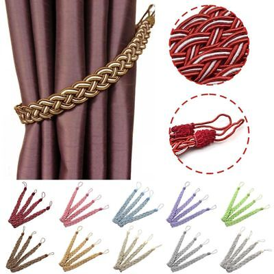 Pair  Braided Satin Rope Curtain Tie Backs -Tiebacks Holdbacks Curtain & Voile