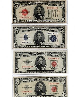 (4) $5.00 ✯ Red & Blue Seal Lot ✯1928 1953 1963 Star Note ✯ 1934 silver cert ✯
