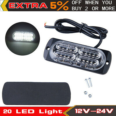 20 LED Flash Recovery Strobe Light White Car SUV Emergency Light Grill Breakdown