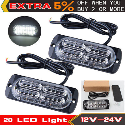 2x Ultra Slim 20 LED Car Strobe Flash Light Warning Hazard Emergency Lamp White
