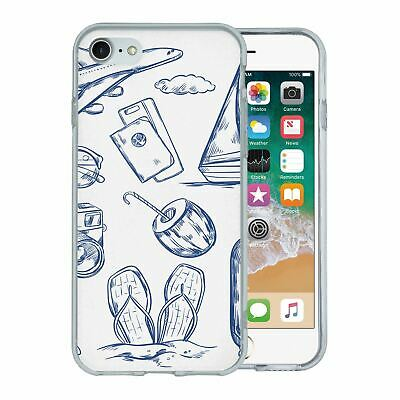 For Apple iPhone 8 Silicone Case Travel Holiday Pattern - S4750