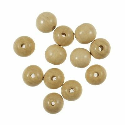Wooden Beech Ball Beads with Inner Hole for Crafting