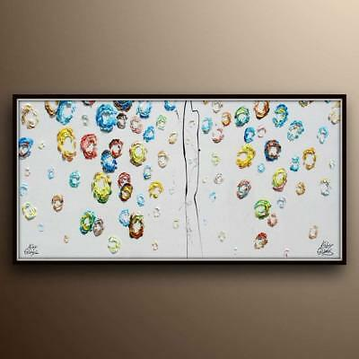 "Abstract oil Painting - 55"", Curtain of Blue balls, Amazing texture, handmade"