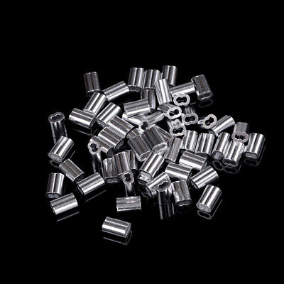 50pcs 1.5mm Cable Crimps Aluminum Sleeves Cable Wire Rope Clip Fitting FadLD