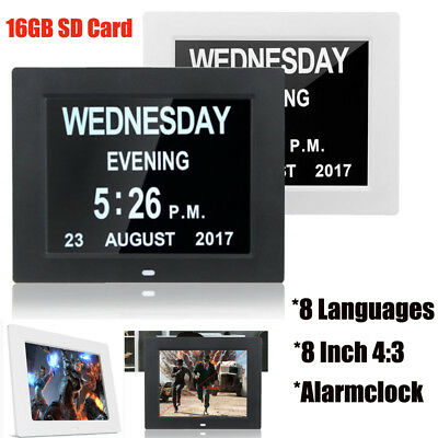 "8"" LED Dementia Digital Calendar Clock Large Letter Week/Month/Year Xmas Gift"