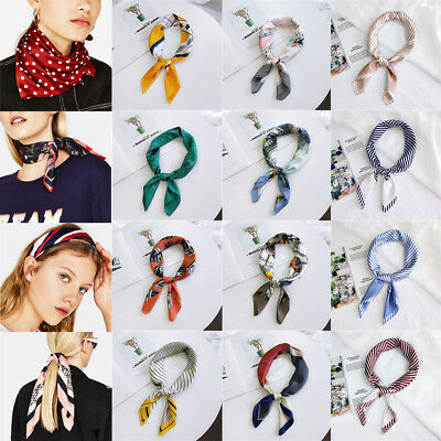 Women Vintage Striped Silk Satin Square Scarf Neck Tie Hair Band Wristband Hot