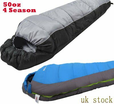 50oz 4 Season 400 XL Camping Hiking Mummy Sleeping Bag Winter UK