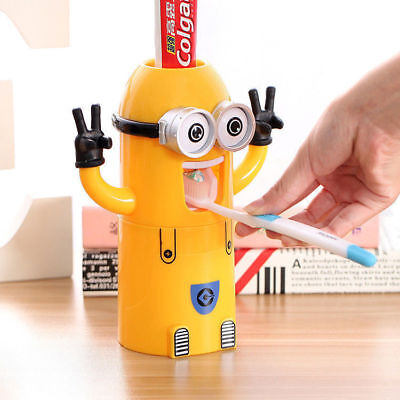 Cute Minions Design Small Yellow People Toothbrush Holder Automatic Toothpaste