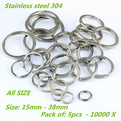 15-38mm Stainless Steel Flat Split Key Ring Fishing Solid Chain Clips 10/100 Pcs