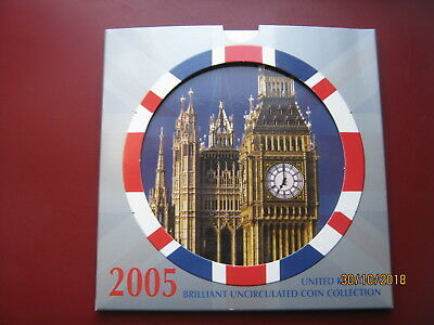 UK British 2005 BUNC 10 Coin Collection Set: Penny ~ £2 Pound Presentation Pack