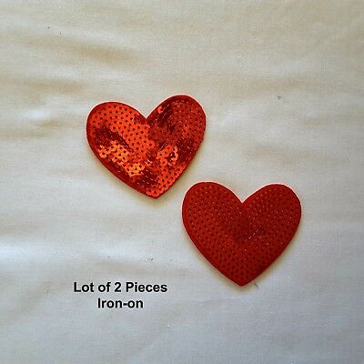 2 Pieces Red Sequins Hearts Embroidered Iron-on Emblem Badge Patch Applique
