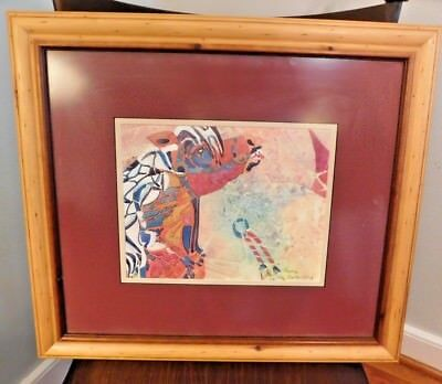 """Painting of carousel horse matted 19"""" X 17"""" wood frame original signed artwork"""