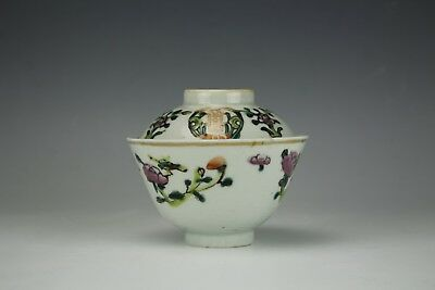 Antique Asian Chinese Porcelain Famille Rose Double Happiness Tea Cup with Cover