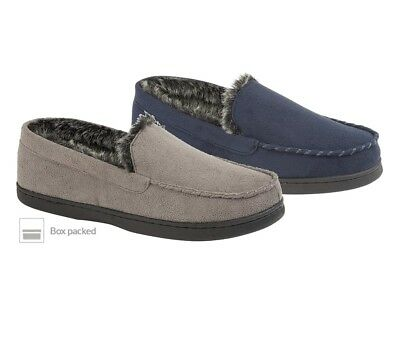 Jo & Joe Mens Stylish Stratton Faux Suede Fur Lined Moccasin Slippers (Boxed)