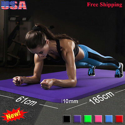 61x185cm Yoga Mat 10mm Thick Gym Exercise Fitness Mat Non Slip Pilates Workout