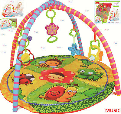 Baby Infant Rainforest Deluxe Playmat Jungle Soft Music Lights Activity Gym/Arch
