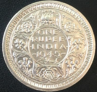 British India ~ King George VI, 1945, Rupee 1, Bombay Mint, Silver Coin (S-714)