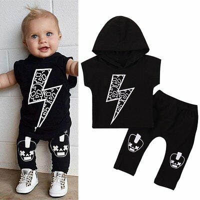 Newborn Baby Boys Short Sleeve Hooded T-shirt+Long Pants Legging Outfit Clothes