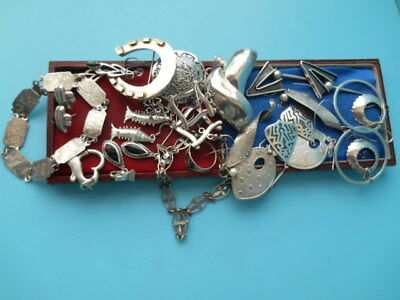 JOB LOT SOLID SILVER EARRINGS BRACELETS BROOCH PENDENT ECT SCRAP OR USE 101gm