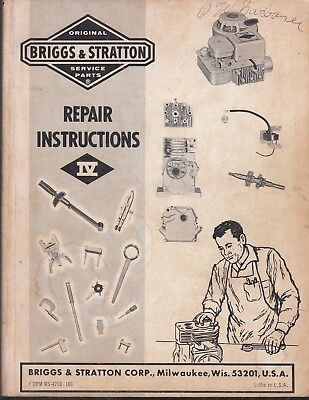 Briggs and Stratton Service Parts RepaIr Instructions IV