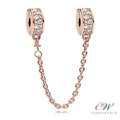 Rose Gold Crystal Safety Chain Genuine 925 Sterling Silver 💞 For Charm Bracelet